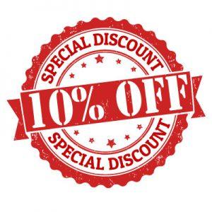 10 percent off special discount